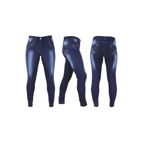 HyPERFORMANCE Denim Look Diamante Ladies Breeches