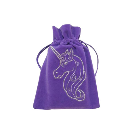 LazyOne Unicorn Embroidered Luxury Tarot Bag Velvet