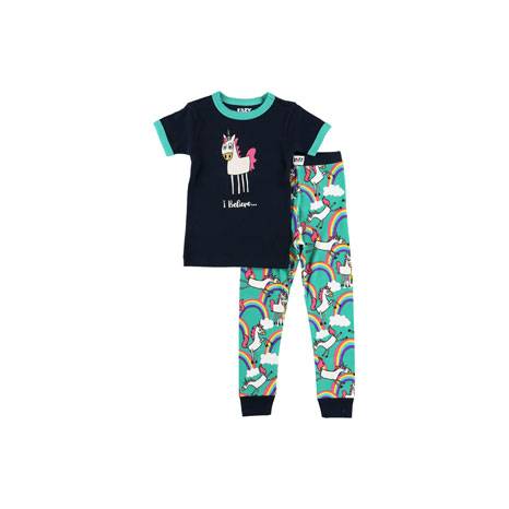 LazyOne Girls I Believe in Unicorns Kids PJ Set