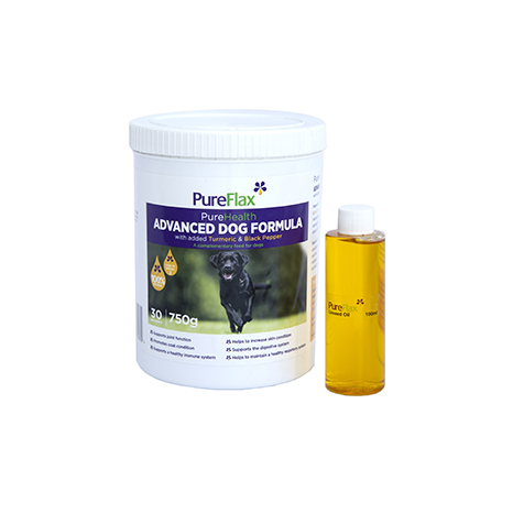 Pureflax PureHealth Advanced Dog Formula - With Added Turmeric & Black Pepper